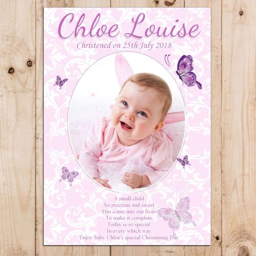Personalised Girls Butterfly Christening Baptism PHOTO Banner Poster N13